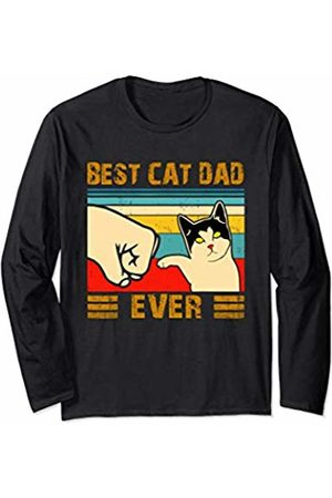 Cat T Shirt Gift for Women Men Best Cat Dad Ever Vintage Men Bump Fit Fathers Day Gift Long Sleeve T-Shirt