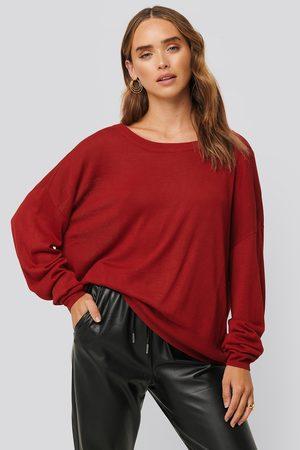 NA-KD Fine Knit Drop Hem Sweater - Red