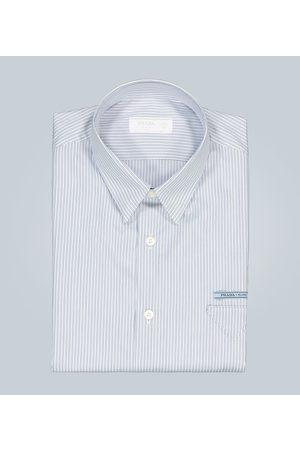 Prada Logo-detail striped cotton shirt