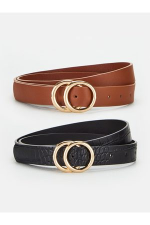 Very Two Pack Leo Double Buckle Belts - /