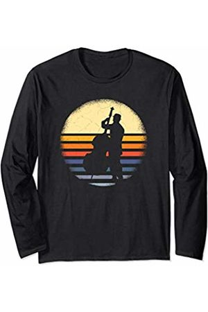 Vintage Double Bass Upright Bass Clothing Mens Musical Instrument Retro Bass Silhouette Player Long Sleeve T-Shirt