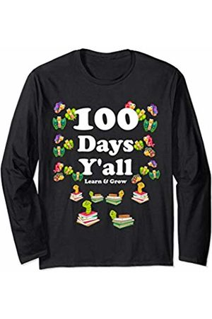 Butterflies 100 Days Y'all Funny Girls 100th Day Of School Long Sleeve T-Shirt