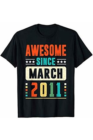 Vintage 9th Birthday Shirt 2011 Birthday Gift Awesome Since March 2011 9 Years Old 9 Birthday T-Shirt