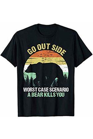 Funny Camping Go Outside Worst Case Scenario A Bear Kills You Vintage T-Shirt