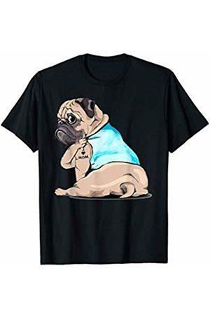 Funny Pug Tattoo Tee Shirt I Love Mom Funny Pug Tattooed T-Shirt