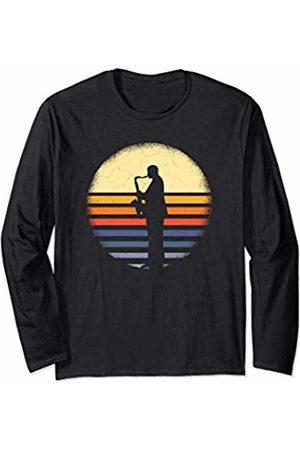 Vintage Classical Music Saxophone Fans Mens Musical Instrument Retro Saxophone Silhouette Player Long Sleeve T-Shirt