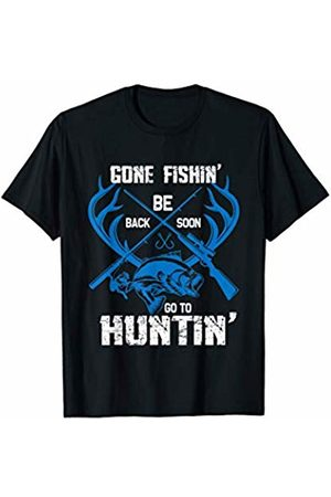 TNTT Funny Fishing Gift Tees Gone Fishin' Be Back Soon To Go Huntin' Vintage Gift T-Shirt