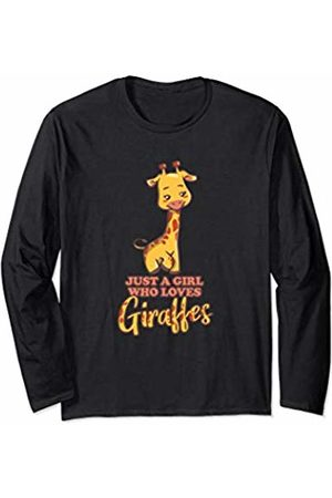 Wowsome! Just a Girl Who Loves Giraffes Funny Tall Zoo Animal Lover Long Sleeve T-Shirt