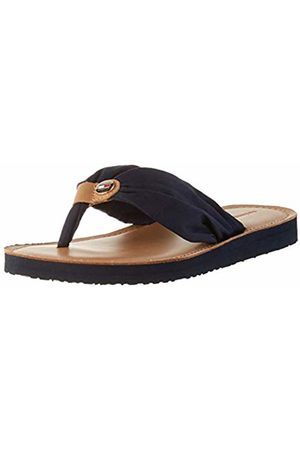 Tommy Hilfiger Women's Leather Footbed Beach Sandal Closed Toe, (Desert Sky Dw5)