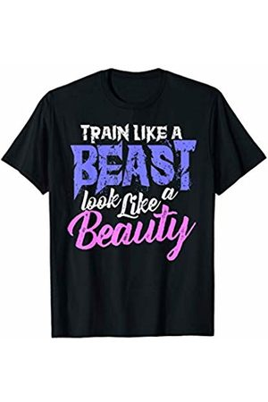Workout Muscles Weight Lifting Gym Gift Train Like a Beast Look Like a Beauty Womens Workout T-Shirt