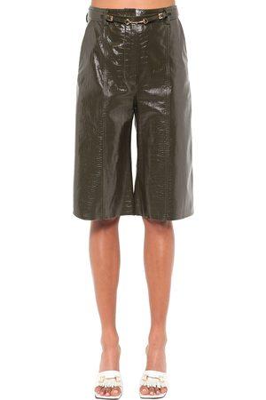 DODO BAR OR Ivgenya Croc Printed Leather Shorts