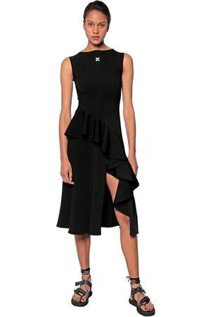 OFF-WHITE Ruffled Viscose Blend Knit Dress