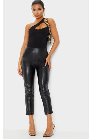 PRETTYLITTLETHING Daysha Cropped Faux Leather Trousers