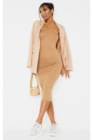 PRETTYLITTLETHING Basic Camel Bandeau Midaxi Dress