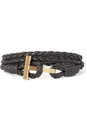 Tom Ford Woven Leather And Gold-plated Wrap Bracelet