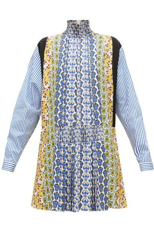 Prada Smocked High-neck Floral-print Panelled Mini Dress - Womens - Multi
