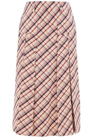 Prada Checked Wool-twill Skirt - Womens