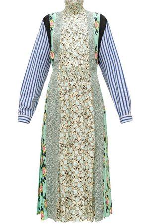 Prada Sable Patchwork-print Pleated Crepe Dress - Womens