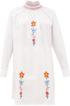 Prada Floral-embroidered Cotton-poplin Tunic Blouse - Womens - Multi