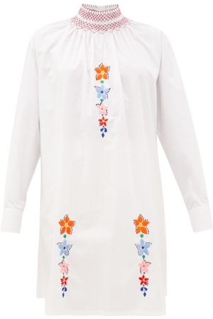 Prada Floral-embroidered Cotton-poplin Tunic Blouse - Womens