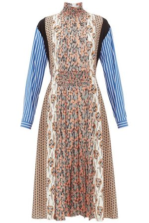 Prada High-neck Patchwork-print Sablé Midi Dress - Womens - Print