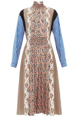 Prada High-neck Patchwork-print Sablé Midi Dress - Womens