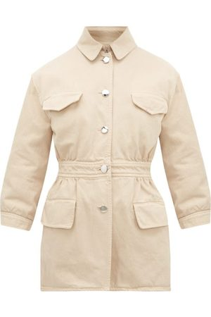 Prada Triangle-appliqué Denim Safari Jacket - Womens