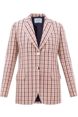 Prada Single-breasted Checked Wool-twill Jacket - Womens