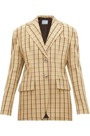 Prada Single-breasted Checked Wool-twill Blazer - Womens - Multi