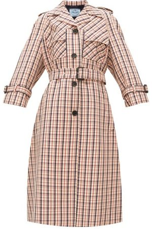 Prada Single-breasted Checked Wool-gabardine Coat - Womens
