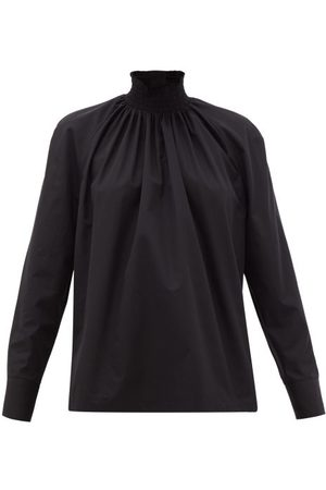 Prada High-neck Cotton-poplin Blouse - Womens