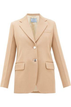Prada Women Coats - Single-breasted Virgin-wool Gabardine Blazer - Womens
