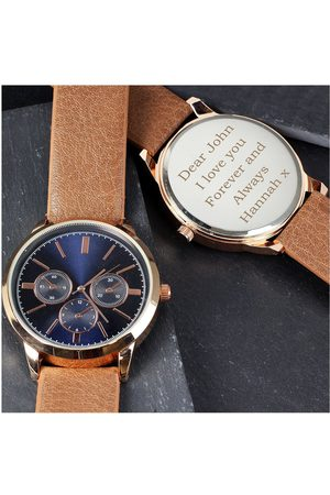 Vero Moda Very Personalised Mens Rose Gold Watch With Tan Strap