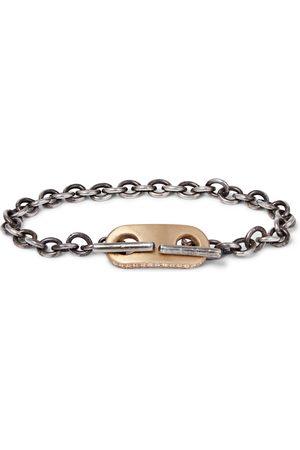 M. COHEN Men Bracelets - 18-karat Gold And Sterling Diamond Id Bracelet