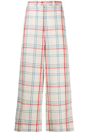 HENRIK VIBSKOV Miami checked wide-leg trousers - Neutrals
