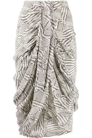 Isabel Marant Batik-print draped skirt - Neutrals