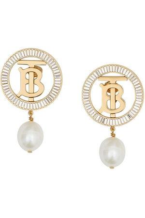 Burberry Pearl monogram clip-on earrings