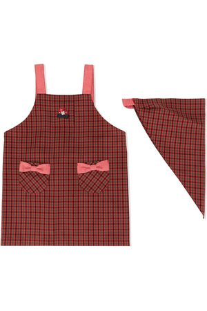 Familiar Bow detail gingham checked apron