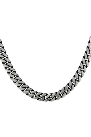 The Love Silver Collection Men Necklaces - Sterling Oxidized Grey Curb Chain Necklace