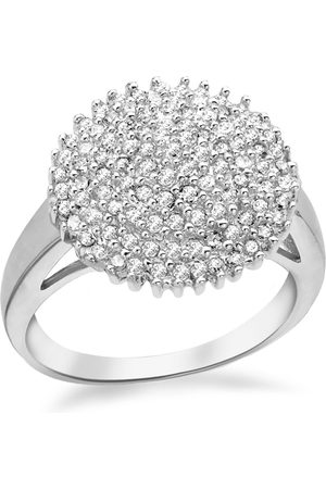 The Love Silver Collection Rhodium Plated Sterling Cubic Zirconia Cluster Ring