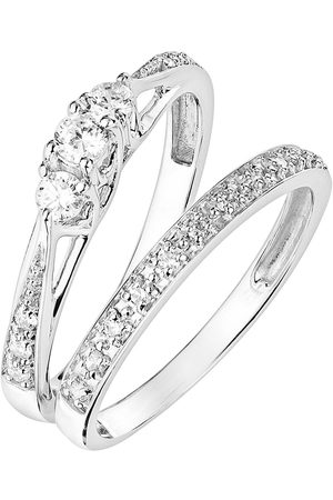 Love Diamond 9Ct 0.23Ct Three-Stone Diamond Ring With Heart Detail On Shank And 9Ct 0.07Ct Wedding Band Bridal Set