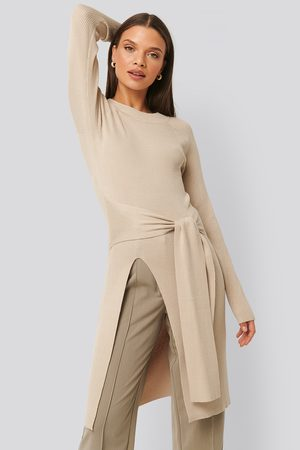 NA-KD Tie Front Ribbed Sweater - Beige