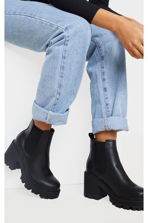 PRETTYLITTLETHING Wide Fit Chunky Heeled Chelsea Boot