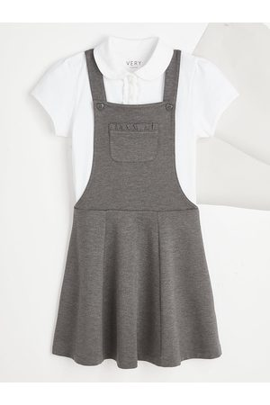 Very Girls School Jersey Polo And Pinafore Set