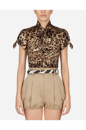 Dolce & Gabbana Collection - TOP IN CHARMEUSE WITH LEOPARD PRINT