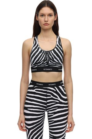 Vetements Zebra Print Crop Top W/logo