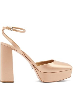 Prada Square-toe Satin Platform Pumps - Womens