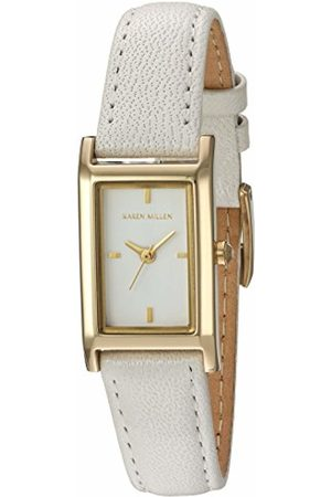 Karen Millen Women's Quartz Watch with Dial Analogue Display and Leather Strap KM114WG