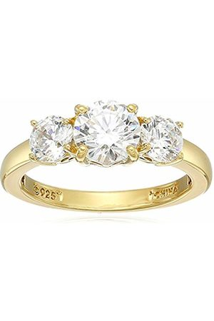 Amazon Collection Yellow Gold Plated Sterling Silver Swarovski Zirconia Round 3-Stone Ring