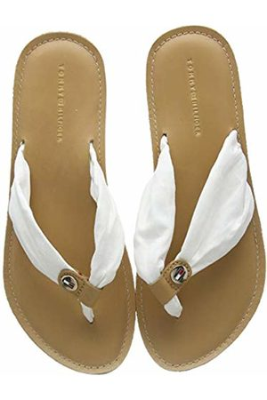 Tommy Hilfiger Women's Leather Footbed Beach Flip Flop, (Ivory Ybi)